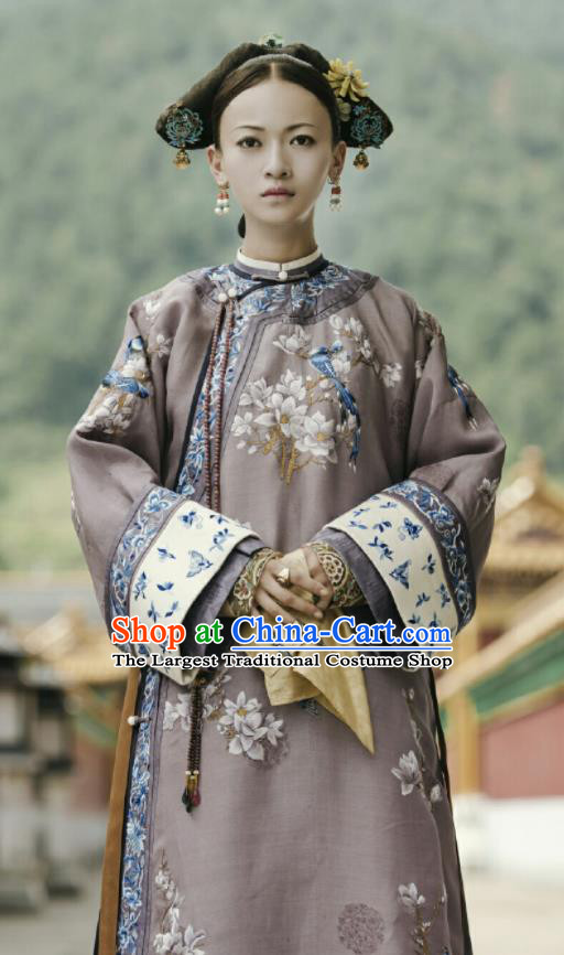 Chinese Ancient Qing Dynasty Imperial Consort Ling Story of Yanxi Palace Embroidered Costumes and Headpiece Complete Set