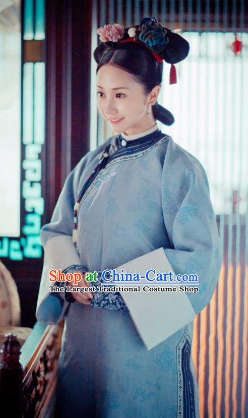 Story of Yanxi Palace Ancient Chinese Qing Dynasty Court Maid Embroidered Costumes and Headpiece for Women