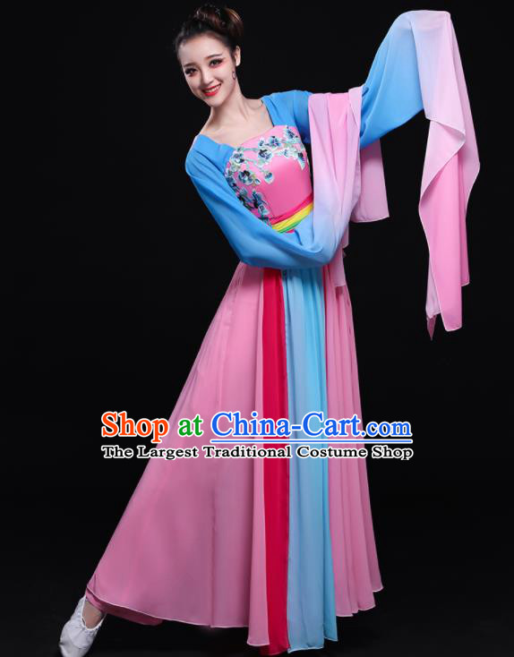 Chinese Traditional Classical Dance Water Sleeve Dress Umbrella Dance Costume for Women