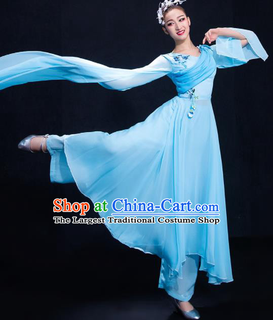 Chinese Traditional Fan Dance Blue Water Sleeve Dress Classical Umbrella Dance Costume for Women
