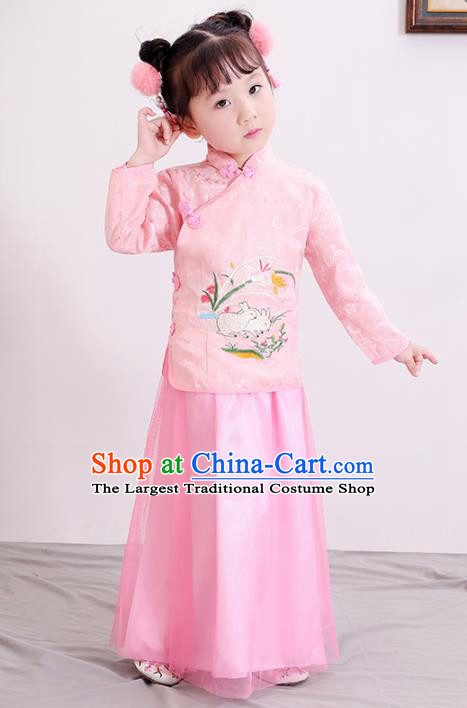 Chinese Ancient Republic of China Children Costumes Traditional Pink Blouse and Skirt for Kids