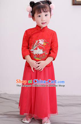 Chinese Ancient Republic of China Children Costumes Traditional Red Blouse and Skirt for Kids