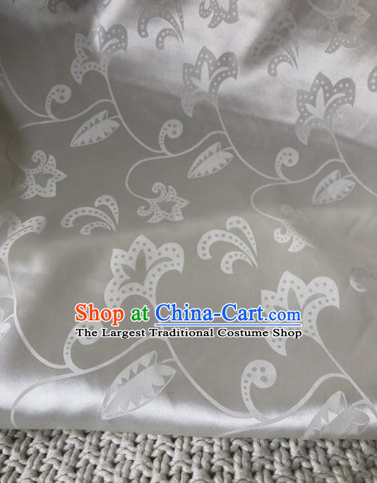 Asian Chinese Traditional Silk Fabric Classical Pattern White Brocade Cheongsam Embroidered Cloth Silk Fabric