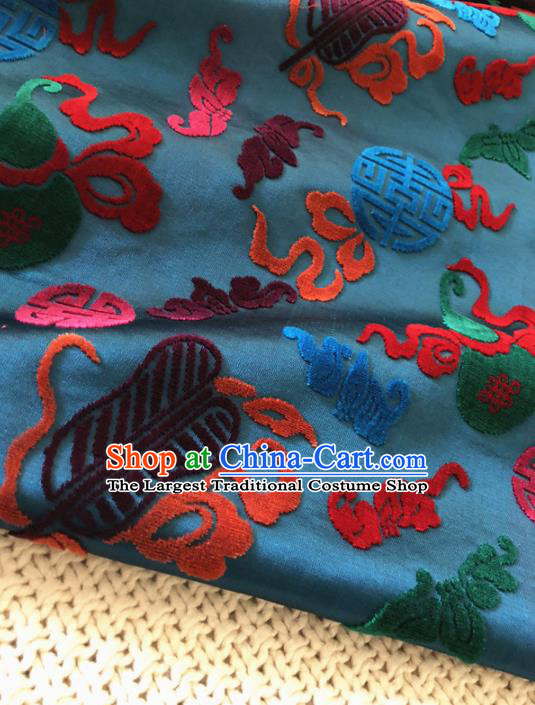 Asian Chinese Traditional Silk Fabric Classical Pattern Peacock Green Brocade Cheongsam Embroidered Cloth Silk Fabric