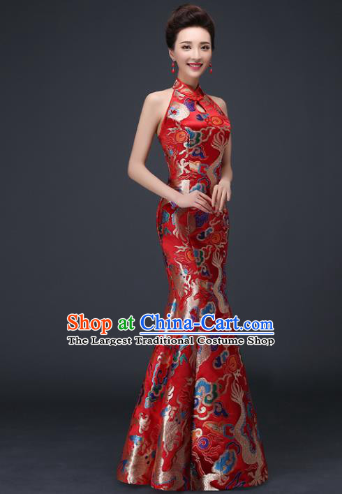 Chinese Traditional Elegant Red Qipao Dress Classical Costume Dragons Cheongsam for Women