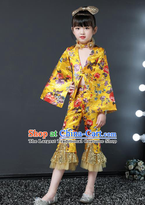 Children Modern Dance Costume Stage Performance Compere Yellow Suits for Girls Kids