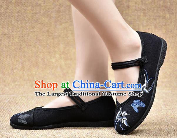 Chinese Shoes Wedding Shoes Traditional Embroidered Birds Butterfly Shoes Bride Black Shoes for Women