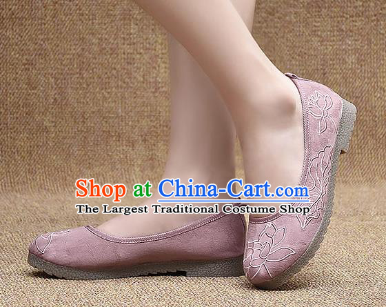 Chinese Shoes Wedding Shoes Traditional Embroidered Lotus Shoes Bride Pink Shoes for Women