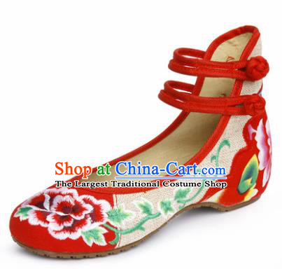 Chinese Shoes Wedding Shoes Traditional Embroidered Shoes Embroidery Peony Red Hanfu Shoes for Women