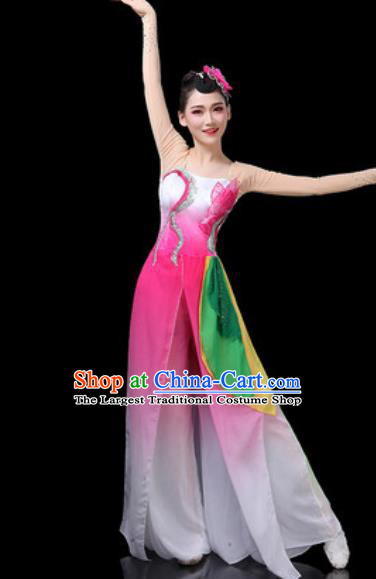 Chinese Traditional Classical Dance Costumes Fan Dance Group Dance Lotus Dance Pink Dress for Women