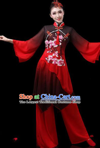 Chinese Traditional Classical Dance Costumes Fan Dance Group Dance Umbrella Dance Red Dress for Women