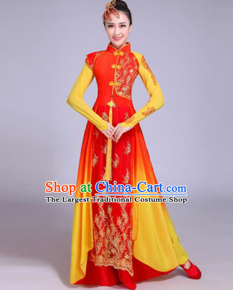 Chinese Classical Dance Costumes Traditional Group Dance Umbrella Dance Red Dress for Women