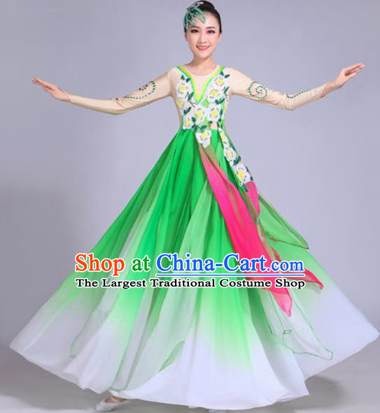 Chinese Classical Dance Costumes Traditional Group Dance Umbrella Dance Green Dress for Women