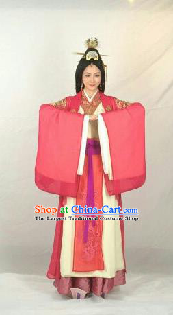 Chinese Traditional Han Dynasty Queen Replica Costumes Ancient Empress Hanfu Dress and Headpiece Complete Set