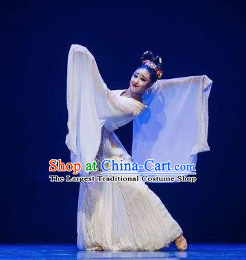 Chinese Traditional Classical Dance Group Dance Costumes Stage Performance White Dress for Women