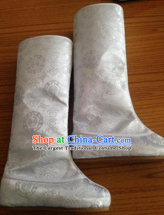 Chinese Traditional Shoes Beijing Opera White Boots Ancient Hanfu Satin Boots for Men