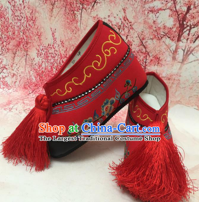 Traditional Chinese Shoes Ancient Princess Red Shoes Beijing Opera Boots for Women