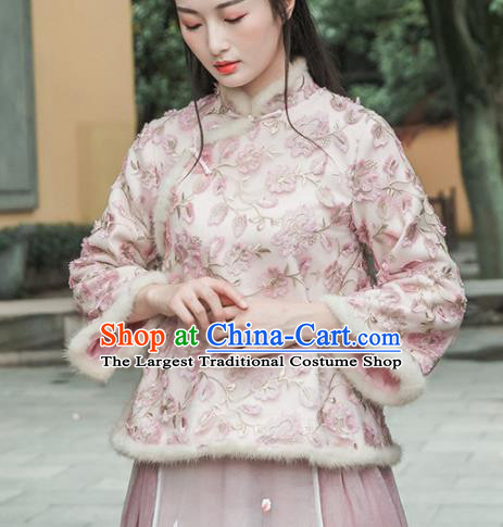 Chinese Traditional Costumes National Tang Suit Pink Cotton Wadded Jacket for Women