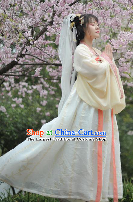 Chinese Traditional Tang Dynasty Palace Princess Historical Costumes Ancient Peri Court Maid Hanfu Dress for Women