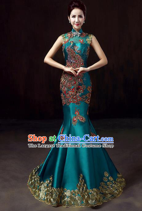 Chinese Traditional Green Cheongsam Mermaid Qipao Dress Elegant Compere Full Dress for Women