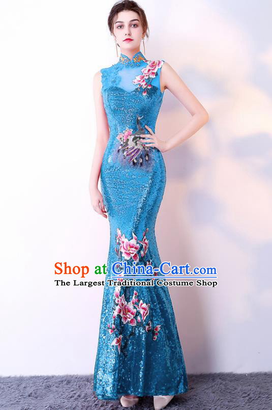 Chinese Traditional Blue Cheongsam Elegant Embroidered Qipao Dress Compere Full Dress for Women