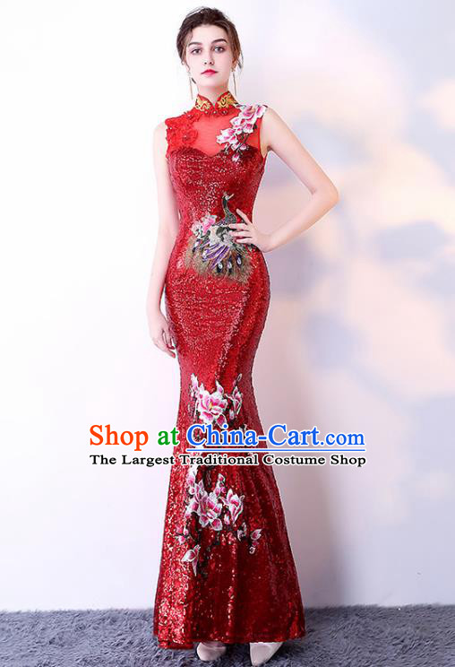 Chinese Traditional Red Cheongsam Elegant Embroidered Qipao Dress Compere Full Dress for Women