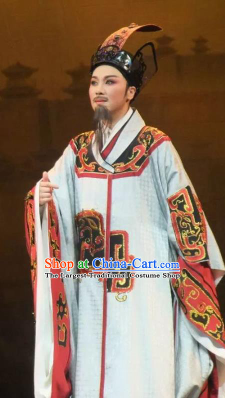 Chinese Ancient Drama Qin Dynasty Prime Minister Li Si White Costumes and Hat Complete Set