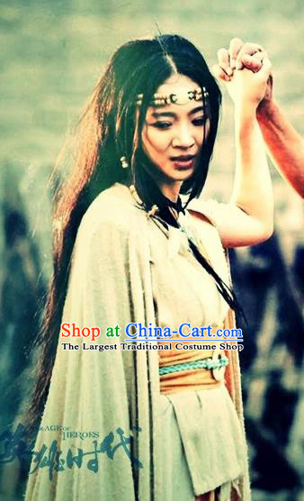 Chinese Ancient Mythology Goddess Jing Wei Hanfu Dress New Stone Age Princess Costumes Complete Set