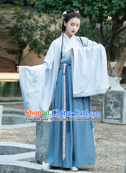 Traditional Chinese Jin Dynasty Court Lady Replica Costumes Ancient Royal Princess Blue Hanfu Dress for Women