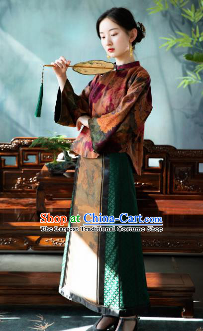 Chinese Traditional Tang Suit Blouse National Costume Republic of China Qipao Upper Outer Garment for Women