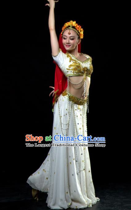 Professional Indian Dance Costume Oriental Dance Belly Dance Stage Show White Dress for Women
