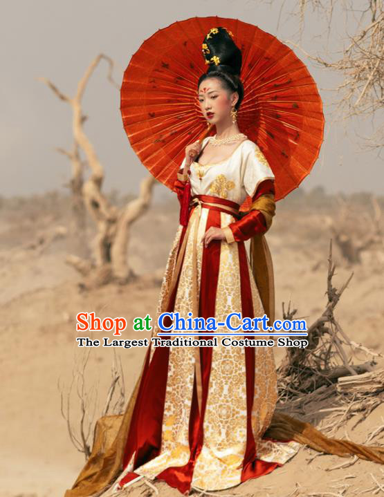 Traditional Chinese Tang Dynasty Royal Princess Replica Costume Ancient Court Apsaras Dance Hanfu Dress for Women