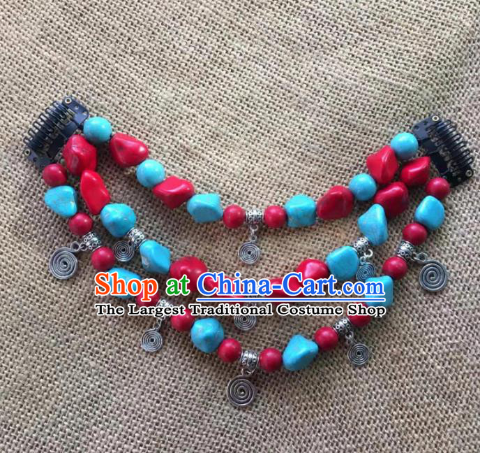 Chinese Traditional Tibetan Ethnic Stone Hair Clasp Zang Minority Nationality Headwear for Women