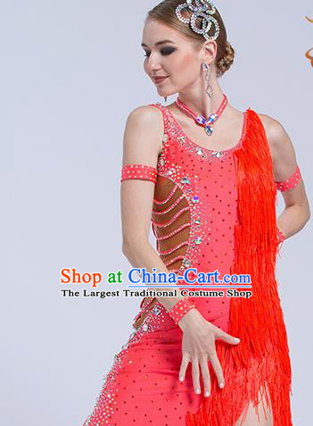 Top Grade Latin Dance Samba Red Tassel Dress Modern Dance International Ballroom Dance Costume for Women