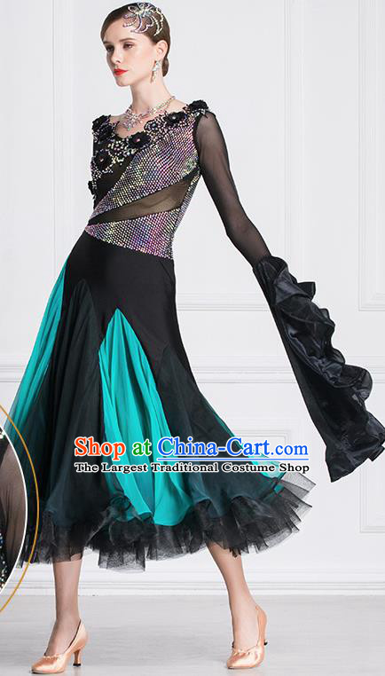 Top Grade Waltz Dance Black Dress Ballroom Dance Modern Dance International Dance Costume for Women