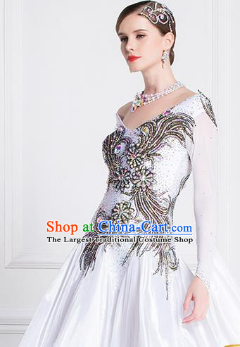 Top Grade Waltz Dance White Dress Ballroom Dance Modern Dance International Dance Costume for Women