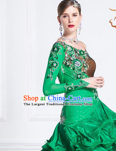 Top Grade Latin Dance Samba Green Short Dress Modern Dance International Ballroom Dance Costume for Women