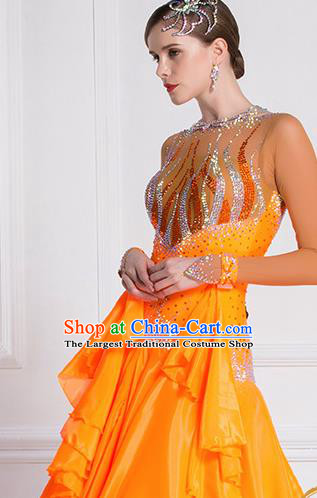Top Grade Waltz Dance Orange Dress Ballroom Dance Modern Dance International Dance Costume for Women