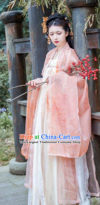Traditional Chinese Tang Dynasty Court Lady White Dress Ancient Hanfu Royal Princess Replica Costumes for Women