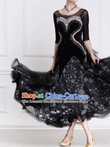 Top Waltz Competition Modern Dance Black Dress Ballroom Dance International Dance Costume for Women