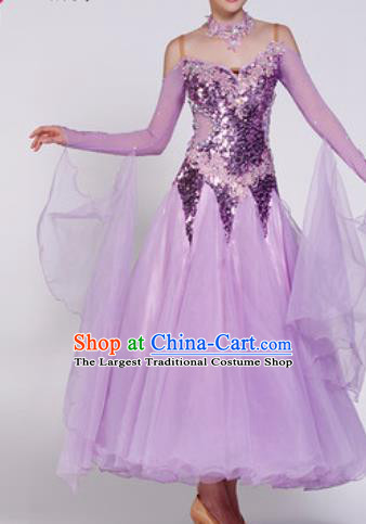 Professional Waltz Dance Lilac Sequins Dress Modern Dance Ballroom Dance International Dance Costume for Women