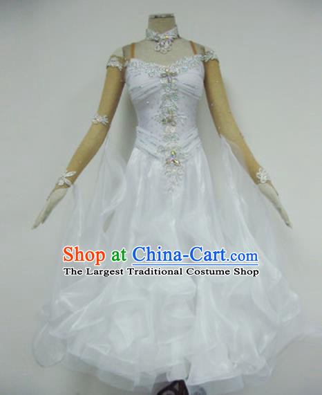 Professional Waltz Dance White Dress Modern Dance Ballroom Dance International Dance Costume for Women