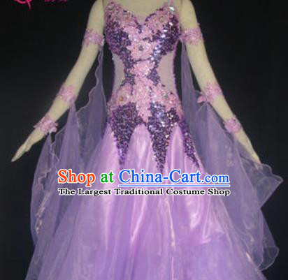 Professional Waltz Dance Lilac Dress Modern Dance Ballroom Dance International Dance Costume for Women
