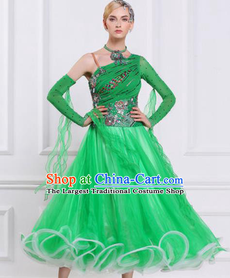 Top Waltz Competition Modern Dance Diamante Green Dress Ballroom Dance International Dance Costume for Women
