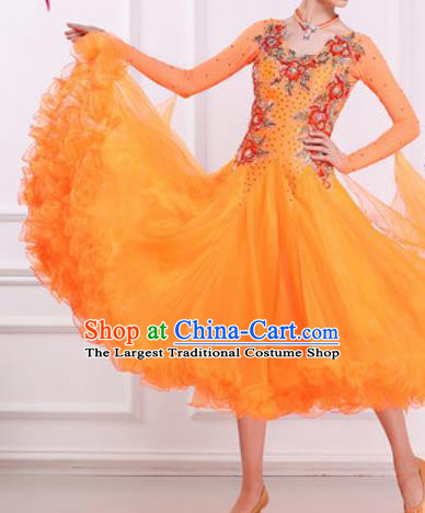 Top Waltz Competition Modern Dance Diamante Orange Dress Ballroom Dance International Dance Costume for Women