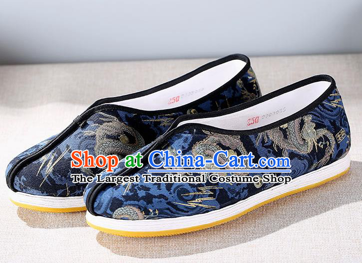 Chinese Traditional Handmade Embroidered Dragon Navy Cloth Shoes National Multi Layered Cloth Shoes for Men