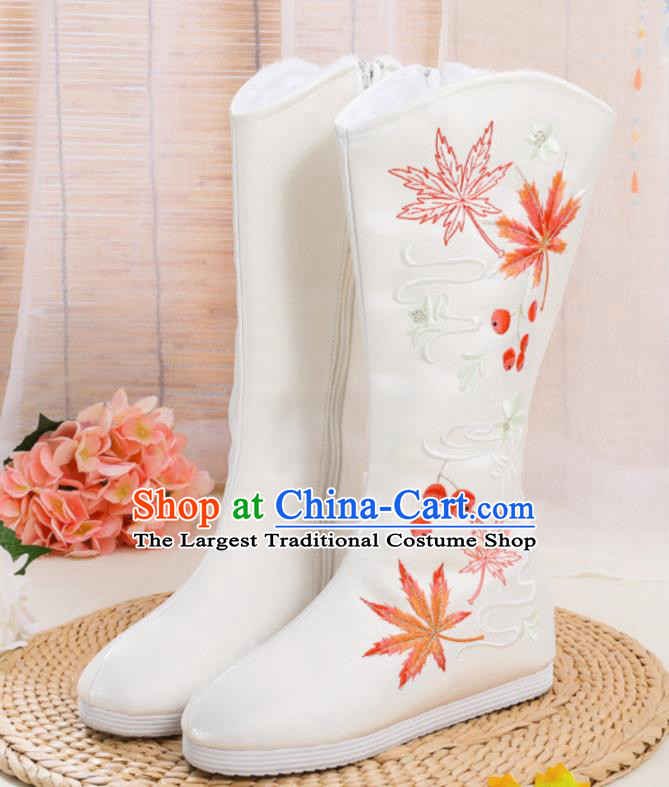 Traditional Chinese Embroidered White Boots Handmade Cloth Shoes National Cloth Shoes for Women