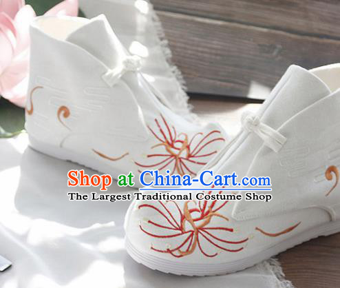 Traditional Chinese Embroidered Manjusaka White Boots Handmade Cloth Shoes National Cloth Shoes for Women