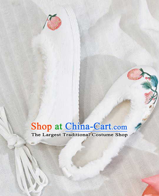 Traditional Chinese Embroidered Rabbit White Shoes Handmade Cloth Shoes National Cloth Shoes for Women