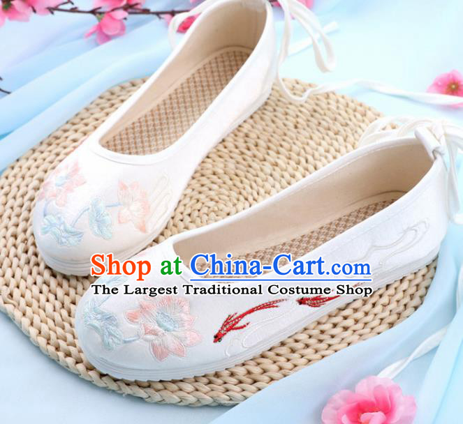 Traditional Chinese Embroidered Lotus Goldfish White Shoes Handmade Cloth Shoes National Cloth Shoes for Women